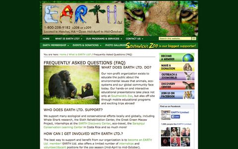 Screenshot of FAQ Page earthltd.org - Frequently Asked Questions (FAQ) - EARTH Ltd. Located in Mendon, MA - captured Oct. 1, 2014