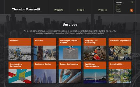 Screenshot of Services Page thorntontomasetti.com - Services - Thornton Tomasetti - captured Sept. 21, 2018