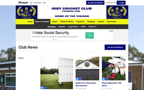 Screenshot of Press Page irbycricketclub.co.uk - News - Irby Cricket Club - captured March 11, 2016