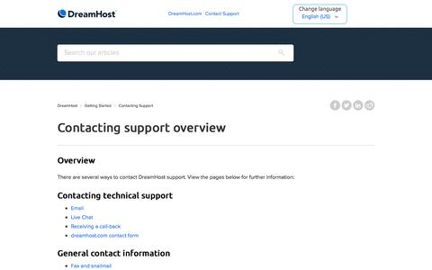 Screenshot of Support Page dreamhost.com - Contacting support overview – DreamHost - captured Feb. 21, 2020