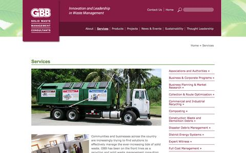 Screenshot of Services Page gbbinc.com - GBB - Solid Waste Management Consulting Services and Expertise - captured Oct. 2, 2014