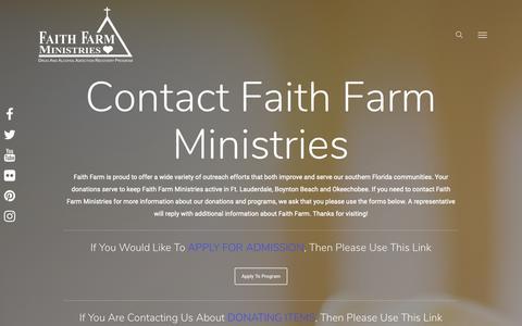 Screenshot of Contact Page faithfarm.org - Donations and Programs - Contact Us - Faith Farm - captured Oct. 10, 2018