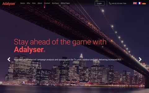 Screenshot of Home Page adalyser.com - Adalyser® | TV Campaign Optimisation - captured Feb. 14, 2016