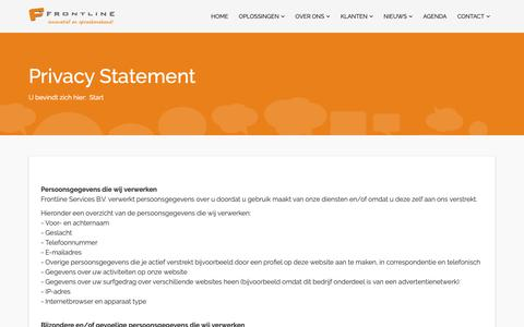 Screenshot of Privacy Page frontline.nl - Privacy Statement - Frontline - captured Oct. 11, 2018