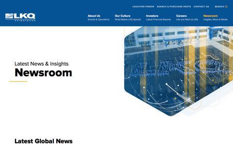 Screenshot of Press Page lkqcorp.com - Newsroom - LKQ - captured Oct. 12, 2019