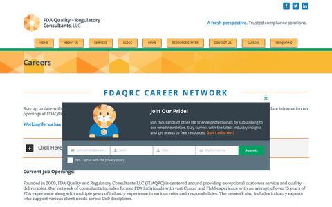 Screenshot of Jobs Page fdaqrc.com - Careers | FDA Quality and Regulatory Consultants - captured Aug. 14, 2019
