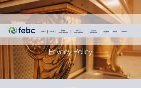 Screenshot of Privacy Page febcinternational.com - Privacy Policy - FEBC International      FEBC International - captured Feb. 9, 2016