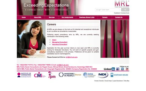 Screenshot of Jobs Page mrl.uk.com - MRL - Public Sector Consultants - captured Oct. 4, 2014