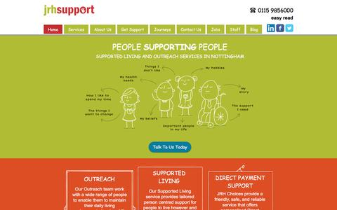 Screenshot of Home Page jrhsupport.co.uk - JRH Support - Supported Living and Outreach Services in Nottingham - captured May 27, 2017