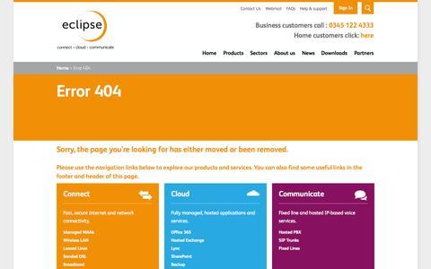 Screenshot of FAQ Page eclipse.net.uk - Error 404 - captured Oct. 1, 2015
