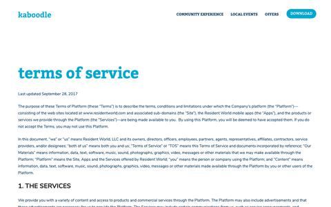 Screenshot of Terms Page kaboodle.com - Terms of Service – Kaboodle - captured Nov. 4, 2018