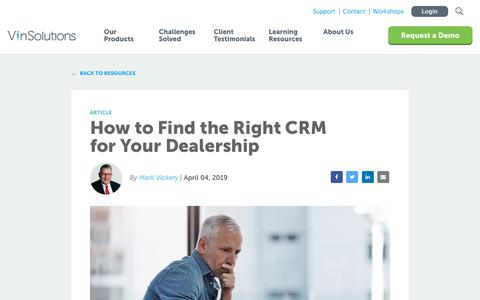 Screenshot of Blog vinsolutions.com - VinSolutions - How to Find the Right CRM for Your Dealership - captured Dec. 3, 2019