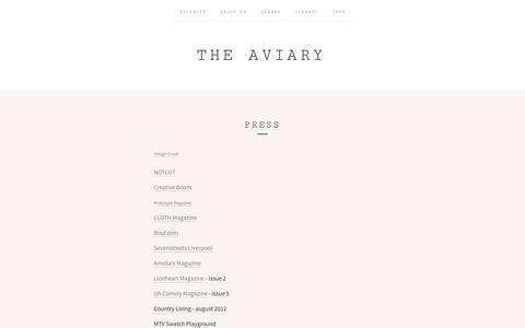Screenshot of Press Page the-aviary.co.uk - PRESS / The Aviary - captured Oct. 26, 2014