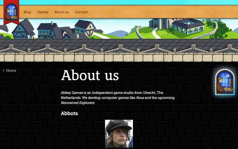 Screenshot of About Page abbeygames.com - About us » Abbey Games • Abbey Games, indie developers of Reus and Renowned Explorers - captured Sept. 22, 2014
