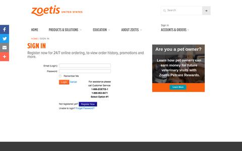 Screenshot of Login Page zoetis.com.bo - Sign In | Zoetis US - captured Aug. 12, 2019