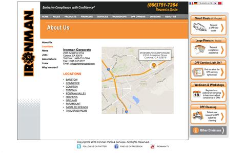 Screenshot of Locations Page ironmanparts.com - Diesel Emissions Retrofitting - Particulate Filters | Ironman - captured Oct. 6, 2014