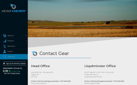 Screenshot of Contact Page gearenergy.com - Contact – Gear Energy Ltd. - captured Oct. 19, 2018