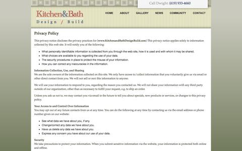 Screenshot of Privacy Page anewkitchen.com - Privacy Policy - Kitchen and Bath Design / Build - captured Oct. 6, 2014