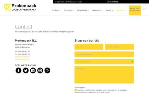 Screenshot of Contact Page prokonpack.nl - Contact - Prokonpack - captured July 23, 2018