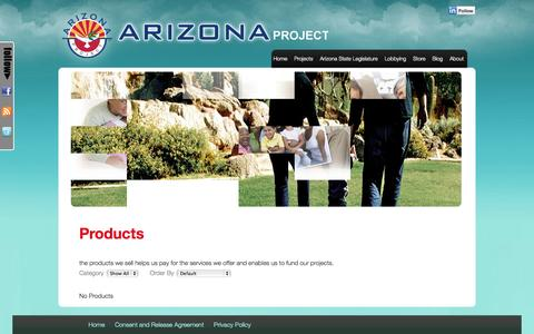 Screenshot of Products Page azproject.org - Products | Arizona Project - captured Sept. 23, 2014