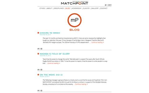 Screenshot of Blog matchpointagency.com - Blog | Matchpoint Public Relations + Marketing Agency - captured Sept. 30, 2014