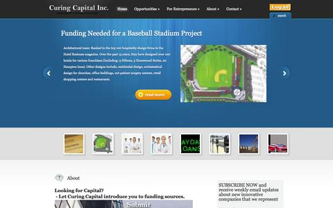 Screenshot of Home Page curingcapital.com - Curing Capital | Venture Capital | Angel Investors | Business Startup | Funding sources - captured Oct. 3, 2014