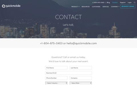 Screenshot of Contact Page quickmobile.com - Request Info About Event Apps | QuickMobile - captured July 4, 2016