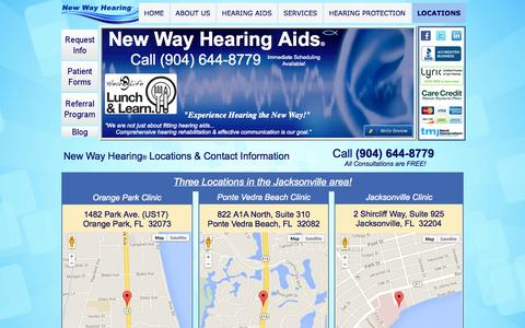 Screenshot of Contact Page Locations Page newwayhearingaids.com - NEW WAY HEARING AIDS® | CONTACT US - captured Oct. 26, 2014