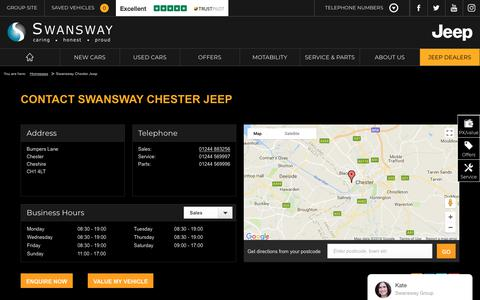 Screenshot of Contact Page swanswaygarages.com - Swansway Chester Jeep   Swansway Jeep - captured Feb. 2, 2018