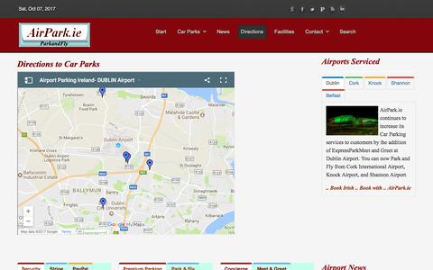 Screenshot of Maps & Directions Page airpark.ie - Directions to Car Parks | Directions - captured Oct. 7, 2017
