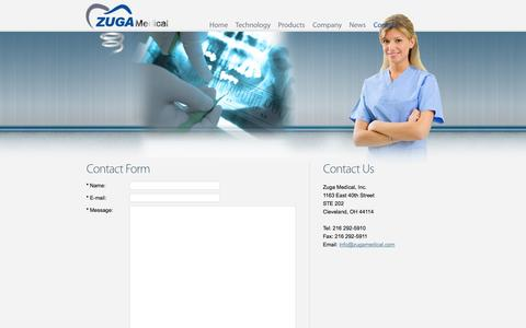 Screenshot of Contact Page zugamedical.com - Zuga Medical | Contact - captured Sept. 17, 2014