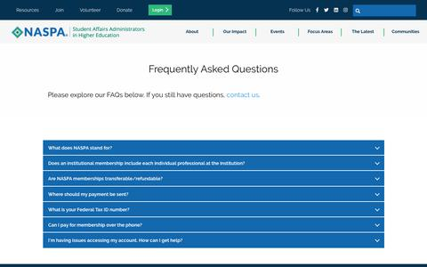 Screenshot of FAQ Page naspa.org - Frequently Asked Questions - captured Oct. 23, 2019