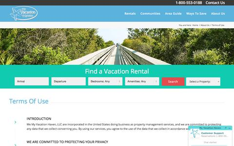 Screenshot of Terms Page myvacationhaven.com - My Vacation Haven Terms of Use | Baytowne Wharf Rentals Florida - captured July 6, 2017