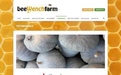 Screenshot of Testimonials Page beewenchfarm.com - » TESTIMONIALS - captured Sept. 30, 2014