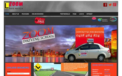 Screenshot of Home Page zoomdrive.com.au - Driving School, Driving Lessons, Driving Instructor in Penrith, Glenmore park, , Springwood, Windsor NSW, Richmond NSW - Zoom Driving School - captured Aug. 30, 2015