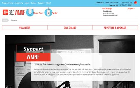 Screenshot of Support Page wmnf.org - WMNF | Support - WMNF - captured Oct. 20, 2018