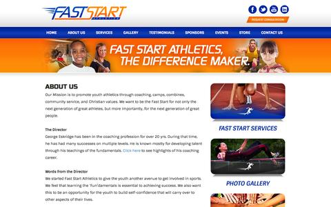 Screenshot of About Page faststartathletics.com - Fast Start Athletics - The Difference Maker  » About Us - captured Oct. 5, 2014