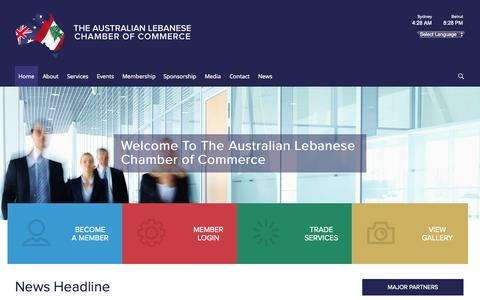 Screenshot of Home Page alcc.com.au - The Australian Lebanese Chamber of Commerce : Unite for Growth - captured Oct. 6, 2014
