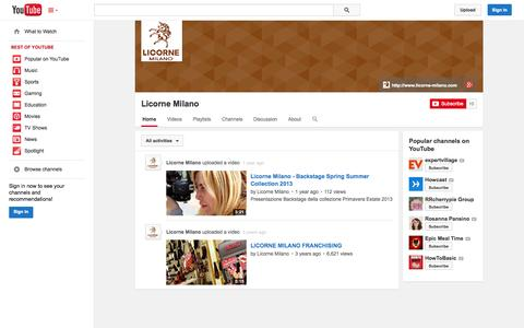 Screenshot of YouTube Page youtube.com - Licorne Milano  - YouTube - captured Oct. 22, 2014