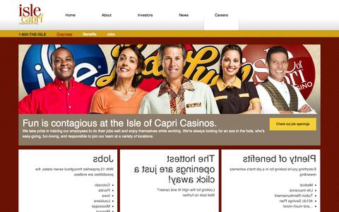 Screenshot of Jobs Page islecorp.com - Isle of Capri Casinos - Careers - captured Oct. 6, 2014