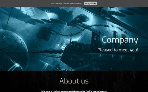 Screenshot of About Page Contact Page Team Page Developers Page iceberg-games.com - Company - Iceberg Interactive - Video Games Publisher - captured Oct. 14, 2017
