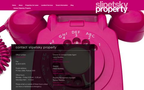 Screenshot of Contact Page slipetsky.com.au - Contact Slipetsky Property for property management and leasing - captured Oct. 4, 2014