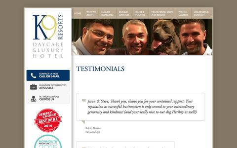 Screenshot of Testimonials Page k9resorts.com - Client Testimonials | K9 Resorts Daycare & Luxury Hotel | New Jersey & PA - captured Sept. 26, 2017