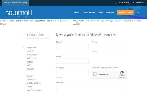 Screenshot of Contact Page solomoit.com.au - Contact Us | solomoIT in Sydney & Melbourne, Australia - captured Dec. 6, 2019