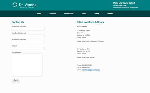 Screenshot of Contact Page drwoodshearing.com - Contact - Dr Woods Hearing Center - captured Oct. 13, 2017