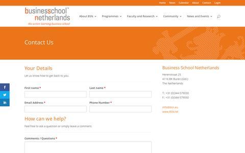 Screenshot of Contact Page bsn.eu - Contact - BSN - Business School Netherlands - captured May 29, 2017