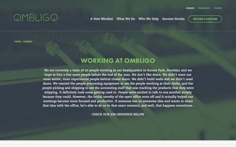 Screenshot of Jobs Page ombligo.com - Careers | Ombligo - captured Feb. 14, 2016