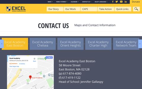 Screenshot of Contact Page excelacademy.org - Contact Us - Excel Academy Charter Schools - captured Dec. 16, 2018