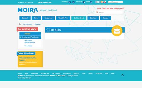 Screenshot of Jobs Page moira.org.au - MOIRA | Disability & Youth Services - Careers - captured Oct. 26, 2014