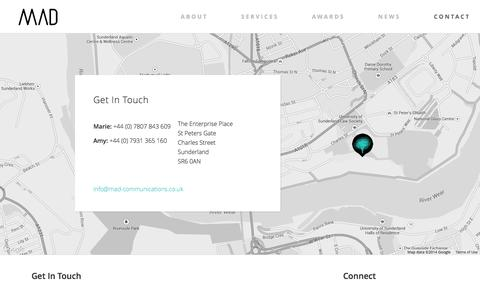 Screenshot of Contact Page Maps & Directions Page mad-communications.co.uk - contact   MAD Communications - captured Oct. 23, 2014